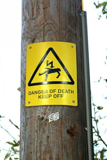 Danger of Death Keep Off sign supplied by Fiberweb